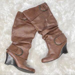 Pesaro Ivan Cognac knee high Buckle Wedge Boot 10
